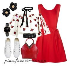 """""""Pinafores"""" by patkova-v ❤ liked on Polyvore featuring Pinko, House of Holland, Converse, Bling Jewelry, Rimen & Co., CLUSE, pinafores and 60secondstyle"""