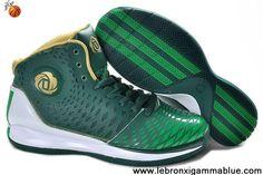 Wholesale Discount Green White Gold Adidas AdiZero Derrick Rose 3.5 Fashion Shoes Store