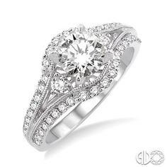 1 1/5 Ctw Diamond Engagement Ring with 3/4 Ct Round Cut Center Stone in 14K White Gold