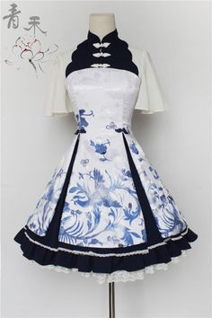--> Pre-order: Qinghe ~Phoenix and Flower~ Qi Lolita JSK --> Pre-order Pri. Pretty Outfits, Pretty Dresses, Beautiful Dresses, Cool Outfits, Scene Outfits, Frilly Dresses, Kawaii Fashion, Lolita Fashion, Cute Fashion
