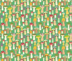 LOVE!!!  more mushrooms fabric by heidikenney on Spoonflower - custom fabric