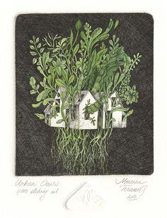"Marina Terauds, ""Urban Oasis,"" zinc etching, 10 in, 2016 Painting Inspiration, Art Inspo, Intaglio Printmaking, Art Techniques, Art World, New Art, Illustrators, Screen Printing, Paper Art"