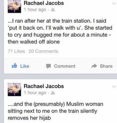 The message posted on Rachael Jacobs' Facebook page about her experience on public transport during the 2014 Sydney Siege.