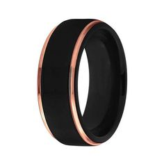 Men's Two-Tone Black and Rose Gold Tungsten Wedding Band - Domed Matte