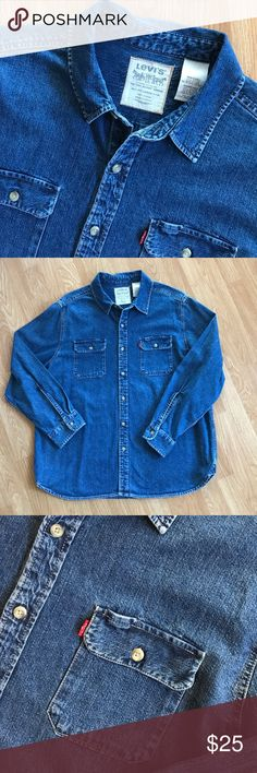 "Levi's Denim Long Sleeve Shirt Size XXL Very nice long sleeve denim shirt. Two front button pockets and one has a spot to put your pen! Great wash and in excellent condition! Armpit to armpit measures 26"", length is 31"" Levi's Shirts Casual Button Down Shirts"