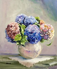 hydrangea painting on canvas | Hydrangeas On White Lace Painting - Hydrangeas On White Lace Fine Art ...