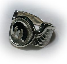 Sterling silver winged Mopar Chrysler ring made to order by RPM Jewellery and Karen Ryder.