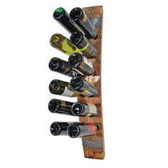 Double Barrel Stave Wall Rack Bring home the casual elegance of your favorite winery with this wall mounted wine rack made from aged oak barrels, each used in wine production for 2 - 5 years. You'll feel doubly good knowing that each item comes from 100% recycled barrels, so your great taste is also great for the planet! This double stave rack holds 12 bottles of wine, and comes with screws included for easy mounting on your wall.