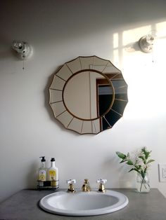 We absolutely adore this unique circular mirror. Not only is it a great focal point, but you can look at the design and yourself longer. Widespread Bathroom Faucet, Lavatory Faucet, Bathroom Faucets, Bathroom Goals, Bathroom Inspo, Bathroom Inspiration, Circular Mirror, Kingston Brass, Bathroom Remodeling
