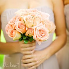For the bridesmaids - Each one with a different flower (same color), or each one with a different shade or tint (roses)