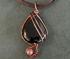 Black agate pendant necklace / copper wire / auburn wire wrapping / natural rubellite bead. Perfect gift for Valentine's Day.