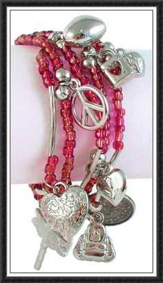 Pink Beaded/silver bracelet