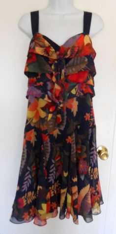 Ted Baker London navy blue floral layered tie front sleeveless dress flounce 10 #TedBaker