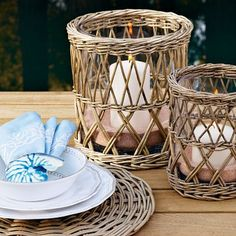 Coastal Style: Seaside Inspired.. Love the candle holders