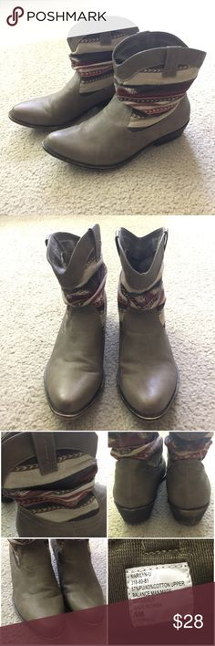 UNIONBAY Marilyn-U Western Bootie Taupe Western style booties from UNIONBAY in taupe color with Aztec detail. Used good condition with some flaws on the back heels and front tip of soles. Size 9. UNIONBAY Shoes Ankle Boots & Booties