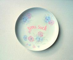 You Suck Plate Decorative Plate Rude Ceramics by StudioFroezel, €12.00