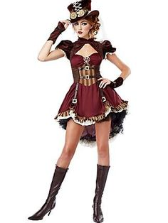 Teen Steampunk Girl Costume                               Features a Dress with Straps and Buckles detailing, Ruffles sleeve and att...