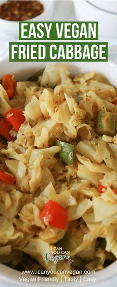 This Easy Vegan Fried Cabbage Recipe is delicious! The perfect holiday recipe side dish to make for family and friends! #Cabbage #FriedCabbage #CabbageRecipe #VeganSideDish #VeganThanksgiving #VeganDinner