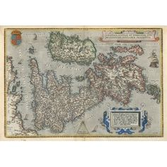 Antique Ortelius British Isles Map - Wallpaper - £21.95 Antique World Map, Vintage World Maps, World Map Wallpaper, British Isles, Projects To Try, Antiques, Antiquities, Antique