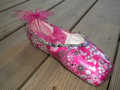 Pink and Silver Decorated Ballet Pointe Shoe