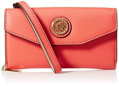 Anne Klein Double Time Wristlet Sf, Sorbet Pink/Shimmer. Goldtone hardware. Pin snap closure. Iconic logo detail. Interior zippered double compartment pocket.