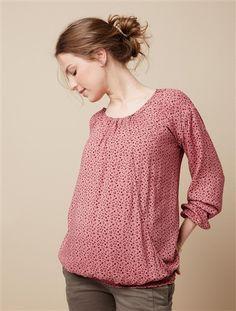 Maternity & Nursing Blouse Purple+Rose print