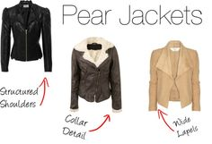 A fashion look from April 2012 featuring faux fur collar leather jacket, drape collar jacket und leather zip jacket. Browse and shop related looks. Pear Shape Fashion, Pear Shaped Outfits, Types Of Body Shapes, Triangle Body Shape, Pear Shaped Women, Fashion Mode, Fashion Tips, Pear Body, Mode Plus