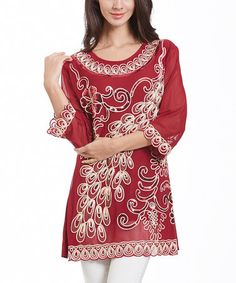 Love this Red Crochet-Accent Three-Quarter Sleeve Tunic on #zulily! #zulilyfinds