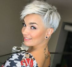 Pixie Haircuts for Women - lilostyle - - What are the best short hairstyles for a lively look? The answer will be nothing more than the short pixie haircut. While the short bob hairstyles are very beautiful for women, the pixie hairstyles ar. Haircuts For Fine Hair, Short Pixie Haircuts, Short Hair Cuts, Short Hair Styles, Pixie Cuts, Pixie Hairstyles For Thick Hair Undercut, Short Blonde Pixie, Undercut Women, Long Pixie
