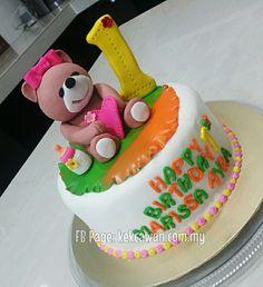 "8"" Moist choc cake + Choc filling + Steam Buttercream + Fondant Figurines + Fondant Cut out Name"