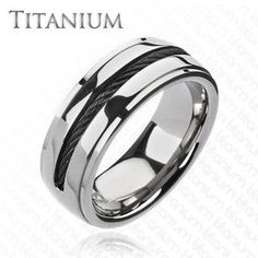 Twist My Arm - Twisted Black Center Wire Solid Titanium Comfort-Fit Ring. #BuyBlueSteel #Jewelry