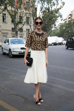 Kate Waterhouse (fashion writer)wearing a top by Parouche. Skirt and shoes are by Celine. Milan Fashion Week, spring/summer 2014.