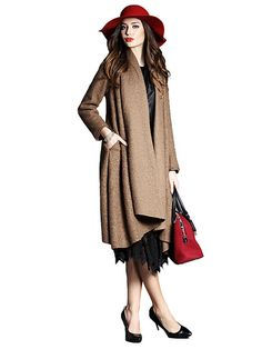High Quality Loose Style Long Cape With Brooch & Jackets / Coats - at Jollychic