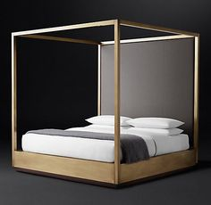 Draper Brass Canopy Bed with Vertical Channel Headboard Black Metal Bed, Bed Wrap, Four Poster Bed, Poster Beds, Brass Bed, Black Rooms, Metal Beds, Headboards For Beds, Canopy Beds
