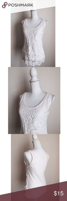 Lace Front Tank ✨ White crocheted lace top with stretch cotton back - Easily transitions from the office to happy hour  - Pair with a blazer or cardigan for a feminine & beautiful look ⚜ Size L Apt. 9 Tops