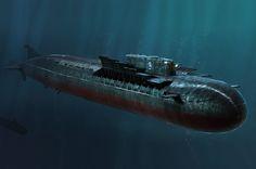 Hobbyboss Russian Navy SSGN Oscar II Missile Submarine - Kursk was an Oscar-II class nuclear-powered cruise missile submarine. Russian Submarine, Soviet Navy, Nuclear Submarine, Cruise Missile, Navy Ships, Submarines, Boat Plans, Model Ships, War Machine