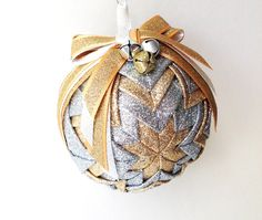 Silver and Gold - Handmade Quilted Ornament by Traceritops on Etsy