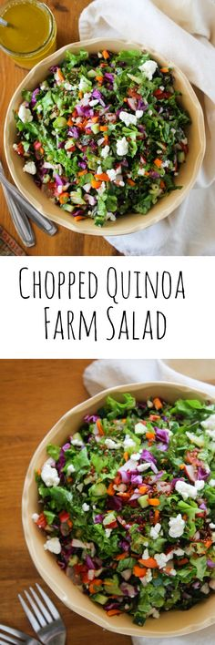 Chopped Farm Salad with Quinoa and Garden Greens - A Saucy Kitchen Healthy Salad Recipes, Real Food Recipes, Vegetarian Recipes, Cooking Recipes, Vegetarian Salad, Healthy Meals, Delicious Recipes, Clean Eating, Healthy Eating