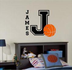 Custom basketball sports themed name children boy girl bedroom playroom wall…