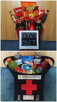 "21st Birthday Survival Kit Great gift idea for a boyfriend, girlfriend, friend, family member, or anyone turning 21!  BOOZE-QUET •Mini liquor bottles •Liquor candies •""Chaser"" pills (Walmart - $5) •Favorite snack food •Favorite soda •Favorite energy drink •Favorite candy  HANGOVER KIT •Drawstring bag (for on the go) •Water bottles •Aspirin/Ibuprofen  •Sports drink •Snack mix •5 hour energy •Mouthwash •Gum/mints •Paper towels/wet wipes •Canned tomato juice •Pepto Bismol •Eye drops •Face wipes"