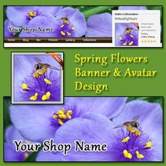 Bees and Flowers Banner and Avatar Design | VirtuallyYours - Graphics on ArtFire