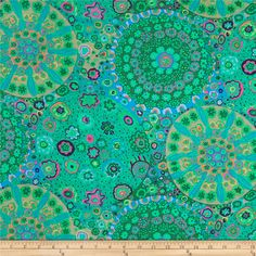 Kaffe Fassett Collective Meadow Millefiore Jade from @fabricdotcom  Designed by Kaffe Fassett for Westminster Fabrics, this cotton print is perfect for quilting, apparel and home decor accents. Colors include orange, jade, pink and lavender.