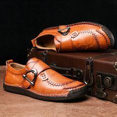 الرجال أنيق مشبك معدني اليد خياطة مريح جولة تو أحذية جلدية Dress Shoes Men Shoes Mens Casual Shoes