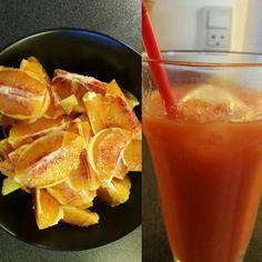 Juice med blodappelsiner og ingefær. Dejligt.