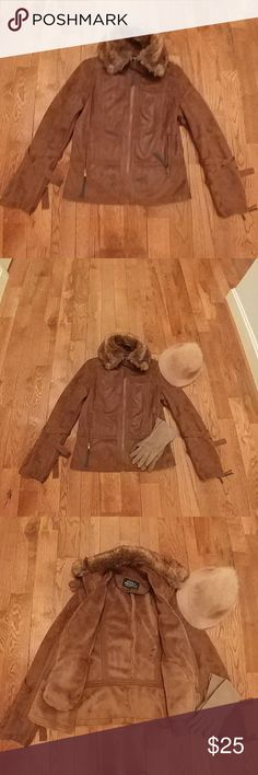 Montana Co Faux Suede Jacket Waist Length Brown Faux Suede Jacket . Cool Details on Sleeves, Deep Zippered Pockets, Not Heavyweight, but Warm. My Favorite Jacket, but Moving to Warmer Climate Jackets & Coats Utility Jackets