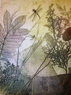 Dragonflies in nature etching, printmaking
