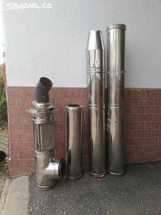 Dvouplášťový komín- komplet k okamžitámu použítí. díly- 200cm, 190cm, 100cm, čistící kus 100cm.