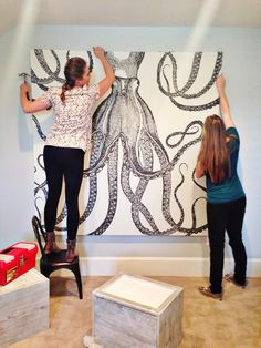 The Saturday 6 - Emily A. Clark  Make a large piece of art by stretching a shower curtain on a wooden frame and hanging it on a few nails in the wall.