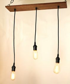 Industrial Hanging Light with Edison bulbs by urbanchandy Pendant Lighting, Funky Lighting, Exposed Wood, Industrial House, Hanging Lights, My Dream Home, Room Inspiration, Light Fixtures, Decoration