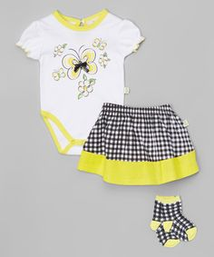 Another great find on #zulily! Yellow Bee Bodysuit & Skirt Set - Infant #zulilyfinds